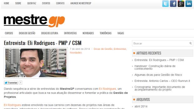 Entrevista no site Mestre GP