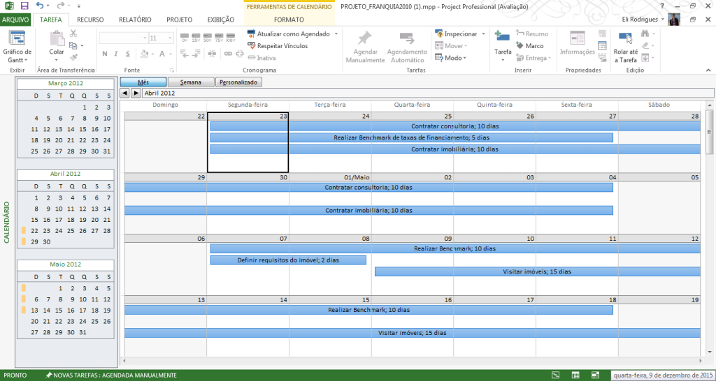 Tela2 - Calendario - CRONOGRAMA MS-PROJECT